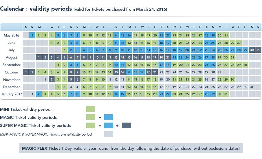 Kalendarz 2016 dostępności biletów Disneylandu